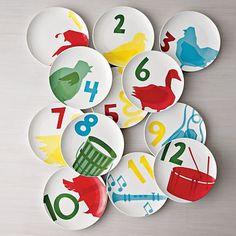Cute, cute, cute. 12 days of Christmas plates.