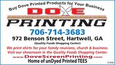 Buy Dove Printed Products For Your Business    (Quality Foods Shopping Center)    We print... | Dove Screen Printing Co. - Hartwell, GA #georgia #HartwellGA #shoplocal #localGA