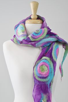 Items similar to Nuno Felt Silk Scarf hand dyed silk Australian Merino wool winter scarf gifts for women shawl scarf wrap Purple multi 11846 on Etsy Nuno Felting, Wool Felting, Handmade Scarves, Handmade Gifts, Nuno Felt Scarf, Mulberry Silk, Merino Wool, Trending Outfits, Unique Jewelry