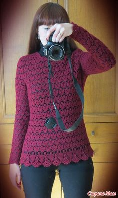 Ажурный пуловер  http://www.stranamam.ru/post/8529767/