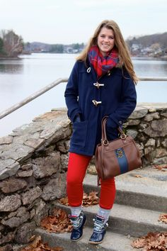 Old Navy toggle coat and red skinny jeans on The Sol Compass