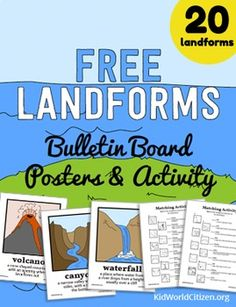 FREE Landforms Bulletin Board Posters and Matching Activity - Homeschool Giveaways 3rd Grade Social Studies, Kindergarten Social Studies, Social Studies Worksheets, Social Studies Activities, Teaching Social Studies, Teaching Science, Science Activities, In Kindergarten, Geography Activities