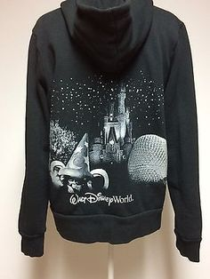 Disney World Parks Black Hoodie Sweatshirt Silver Highlights Womens XL Zippered | eBay