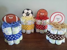 1 SPORTS theme mini diaper cake, baby shower centerpiece. $6.75, via Etsy.