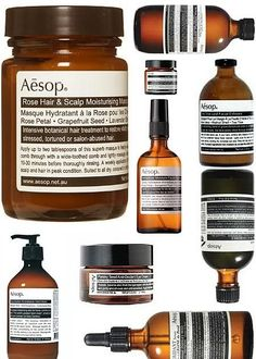 Beside their highly   aesthetics stores design, Aésop also carries highly prized design for their beauty products. Design to look like lab...
