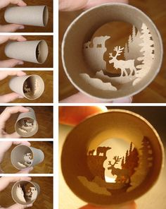 Works by French artist Anastassia Elias: cute scenes come to life... inside toilet paper rolls!