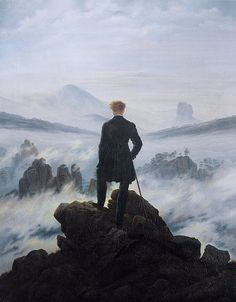 """The Wanderer Above the Sea of Fog  By: Caspar David Friedrich    This piece depicts the characteristic of indivituality. This man is standing on a cliff looking out into a sea of mist and fog. He is alone and you get that sense of lonliness and maybe power when you look at this work of art. It is almost like he is looking over all the land saying, """" this is mine and I control it."""""""