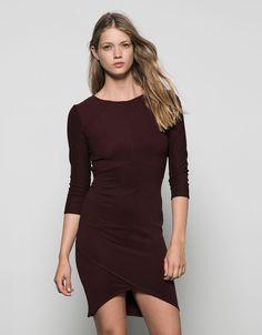 Bershka 3/4 sleeve tight fitting dress with front cuts - New - Bershka Belgium