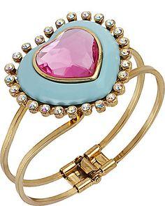 Heart hinged bangle from Betsey Johnson Aqua, Pink Turquoise, Gyaru, Fashion Bracelets, Fashion Jewelry, Jewelry Bracelets, Bangle Bracelet, Jewellery, Necklaces