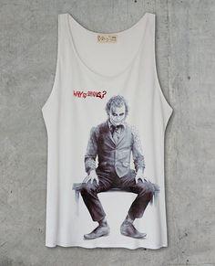 "Joker Heath Ledger  Batman The Dark Knight ""WHY SO SERIOUS?"" Off White Tank Top Shirt on Etsy, £9.40"
