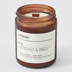 Apothecary Single Wood Wick Candle in Jar - Lemongrass & Ginger | Target Australia Wood Wick Candles, Candle Jars, Lemon Grass, Apothecary, Wicked, Fragrance, Shopping, Witches, Pharmacy
