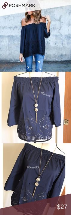 """Blue off the shoulder blouse Cotton Blouse Off Shoulder Loose Casual T Shirt Tops   Off the shoulder blue blouse Elegant print details, elastic top band, flowy loose bottom Cotton blends, US size M (8-10) Bust 36"""" sleeve 16"""" Length 20"""" Brand new without tags.         🛍BUNDLE & SAVE 15%🛍 ✨TOP RATED SELLER✨ 📦SAME DAY OR NEXT DAY SHIPPING!📦 ❤REASONABLE OFFERS WELCOME❤ ❌NO TRADES OR PAYPAL❌ Tops Blouses"""