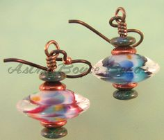 Jaded Rainbow Earrings  Handcrafted Lampwork  by AstridBoyceBeads, $12.00