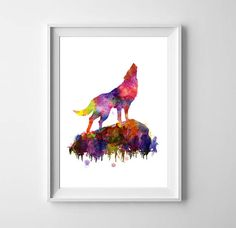 Howling wolf art Watercolor painting Wolf print Wild