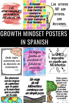 Growth mindset posters in Spanish. Postive sayings in Spanish. Motivational phrases in Spanish for Spanish class and students. 15 Motivational quotes in Spanish that are Printable. Spanish Classroom Decor, Bilingual Classroom, Classroom Language, Bilingual Education, High School Spanish, Elementary Spanish, Spanish Teacher, Elementary Teaching, Motivational Quotes In Spanish