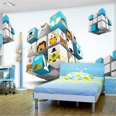 3D Cube cartoon wallpaper - 96W x 60H inches / Non-woven Paper