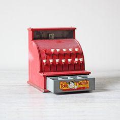 vintage toy cash register found at AMradio on Etsy.