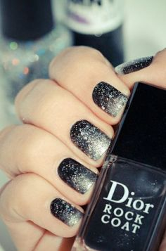 Black to silver glitter ombre nails