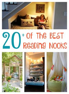 Reading Nook Ideas - over 20 of the BEST DIY Reading Nook Ideas for kids & adults including closets, under the stairs, outside, and tent ideas!