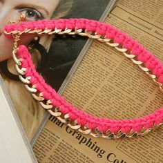 Crocheted Metal Chain Collar Necklace (Neon Pink) | LilyFair Jewelry