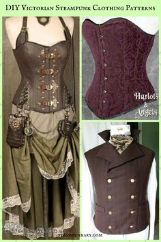 Unique DIY Victorian Steampunk Clothing Patterns from Harlots and Angels