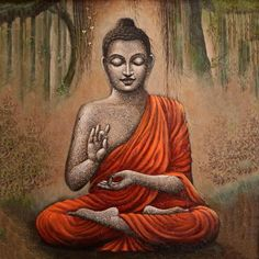 Buddha's wisdom is broad as the ocean and his spirit is full of great compassion. Transform your house into a home using Gautam Buddha Art as it imparts peace and serenity upon its immediate surroundings. Buddha Wall Painting, Budha Painting, Buddha Artwork, Buddha Wall Art, Buddha Images Paintings, Lord Ganesha Paintings, Indian Art Paintings, Buddha Peace, Buddha Buddhism