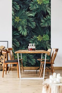 removable wallpaper leaves wallpaper peel and stick wallpaper wall mural removable wallpaper self adhesive wallpaper monster 123 # Wallpaper Designs For Walls, Zebra Wallpaper, Turquoise Wallpaper, Interior Wallpaper, Chinoiserie Wallpaper, Wallpaper Decor, Home Wallpaper, Leaves Wallpaper, Graffiti Wallpaper