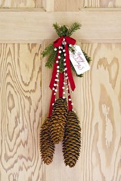 THinking this wouldn't be too hard to make for handing outside during the winter. God knows I have enough pine cones and pine trees. Just need ribbons and bell.