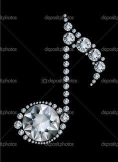 how diamonds sparkle | Diamond Music Note on black background — Stock Vector © Millisenta ...