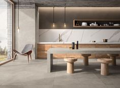 With its concrete aesthetic and large format sizing, the Network series is the perfect tile for that industrial contemporary look. Kitchen Room Design, Modern Kitchen Design, Interior Design Kitchen, Concrete Kitchen, Kitchen Flooring, Kitchen Furniture, Concrete Look Tile, Concrete Floor, Design Furniture