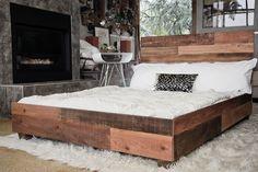 Custom Reclaimed Barn Wood Platform Industrial Bed - Hammers and Heels  - 1 Reclaimed Lumber, Modern Industrial, Industrial Design, Modern House Design, Platform Bed, Decor Styles, Industrial By Design, Platform Bed Frame, Raised Bed