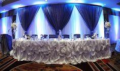 blue wedding decor, head table