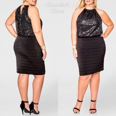 "Ashley Stewart Blouson Sequin Dress Plus Size Plus Sizes 18/20; 22/24 & 26 Brand New With Tags Retails For $69.50 ✅Reasonable Offers ⛔️No Lowballing Perfect for a little soiree, this plus size dress will make sure you sparkle with it's sequin bodice and pleated bodycon skirt. Halter with gold hardware neckline. Blouson bodice. Back keyhole with hardware closure.  Partially lined. Plus size approx.  measures 40.5"" in length.  Top: polyester. Skirt: 95% polyester 5% spandex. Ashley Stewart…"