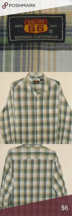 Route 66 button up checkered shirt Long sleeve button up shirt checkered shirt Has 7 buttons on front and one button on cuffs It is green, white, and yellow. Route 66 Tops Button Down Shirts