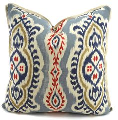 Navy, Gray, Tan, Ted & Natural Ikat Pillow Cover With Natural Flange, 22x22, Lumbar, Square Pillow Cover, Throw Pillow Cover, One of a Kind