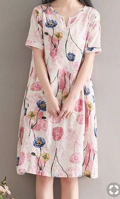 Women loose fitting over plus size retro flower linen dress long floral tunic Source by nejla_c_bozkurt Baggy Dresses, Linen Dresses, Cute Dresses, Casual Dresses, Short Sleeve Dresses, Summer Dresses, Floral Dresses, Casual Clothes, Modest Fashion