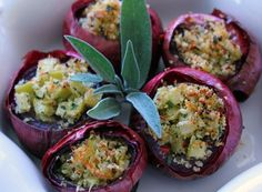 mushroom stuffed red onions with sage garlic and other yummy stuff