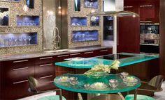 Glass Countertop - Kitchen Design via www.trendsi.com