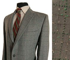 Mens Vintage 1950s Sport Coat. Fleck Windowpane Check. Richman Brothers Sportsman. 41 42