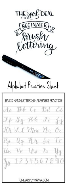 Cursive alphabet: Brush Lettering Practice Page Alphabet Practice Sheets, Brush Letter Alphabet, Caligraphy Practice Sheets, Cursive Handwriting Practice, Hand Lettering Practice, Fancy Handwriting, Handwriting Alphabet, Improve Handwriting, Handwriting Analysis