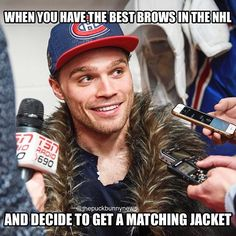 Such a stylish guy! Montreal Canadiens, Max Domi, Canadian Memes, Hockey Memes, Of Montreal, Ice Hockey, Pretty People, Nhl, I Laughed