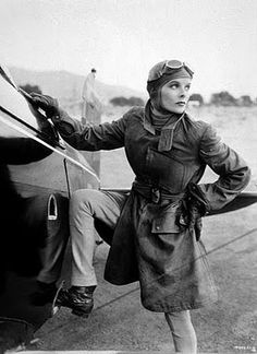 Katherine Hepburn as an aviatrix - love the goggles and jacket.