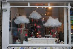 Valentines window display. Light up clouds raining anatomical hearts