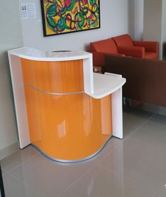 With its compact size, WAVE reception desk can suit in a high variety of interiors and combine diverse functions serving the most sophisticated audience #sohomod WAVE Small Reception Desk, Left-Handed Counter, High Gloss Orange by MDD Office Furniture | SohoMod.com
