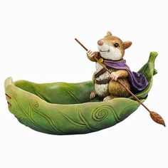Guard Mouse In a Leaf Boat