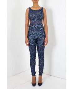 Jovani - Navy and Silver Sequin Jumpsuit