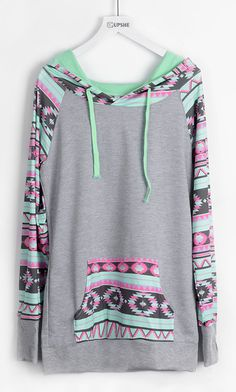 Add colors to your life with only one week&$22.99! This mint ethnic splicing hoodie with front pocket will bring your bored life with lights. Hold this fantastic fall Now!