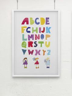 Schönes ABC Poster für kleine Mädels! Poster gehört zur Serie Sweet Girls.    Farbenfroh und süß ... ein Hinkucker zum lernen!    Der Rahmen ist NICHT