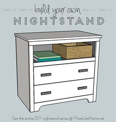 Build your own nightstand with 18 free plans! This mini-dresser version also makes a great entry table! {MoreLikeHome.net}