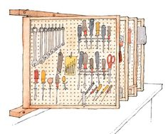 Great idea for the workshop to maximize space. No need for a huge long wall to store tools. We recommend making the panels double-sided with two layers of pegboard so the hooks don't interfere with each other.
